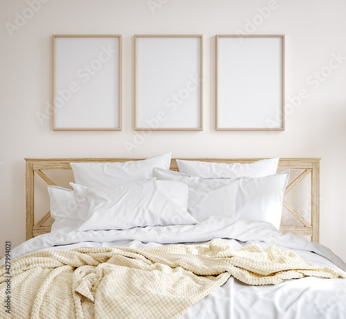 Fototapeta Mockup frame in farmhouse style bedroom interior background, 3d render obraz na płótnie