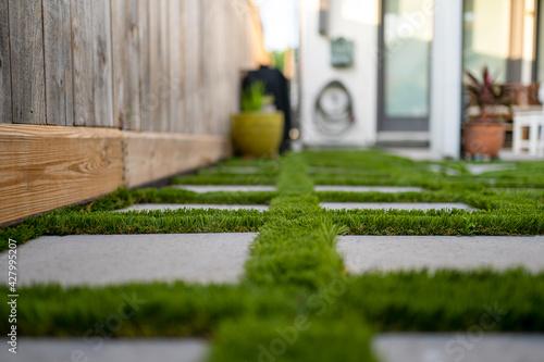 Fotografie, Obraz Astro turf with paver patio
