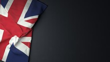 Union Jack British Flag On Dark Background.