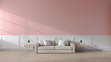Modern Room Interior Of Living Room,brown Sofa On Wood Flooring And Pink Wall