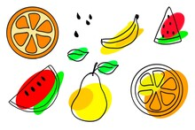 Flying Slices Of Fruit: Orange, Pear, Banana, Watermelon. Hand Drawing Illustration, Isolated, White Ackground