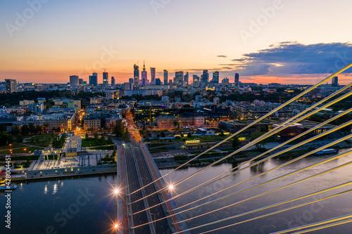 Fototapeta Zachód słońca nad Warszawą obraz