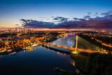 Fototapeta Miasto - Zachód słońca nad Warszawą