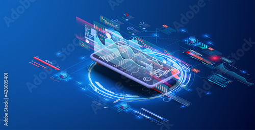 Modern flat design isometric concept of Data Analysis for website and mobile website. Data analytics trends and financial strategy for company marketing solutions or financial performance. Vector - fototapety na wymiar