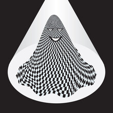 A Ghost In Checkered Bedspread. Vector Illustration