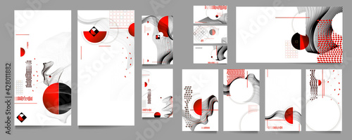 Fotografía Poster design Japanese style templates set invitations to lines abstract backgro