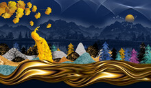 3d Modern Art Mural Wallpaper With Dark Blue Jungle, Forest  Dark Blue Background Colorful Christmas Tree, Mountain , Golden Peacock And Moon With White Birds . Suitable For Use As A Frame On Walls .