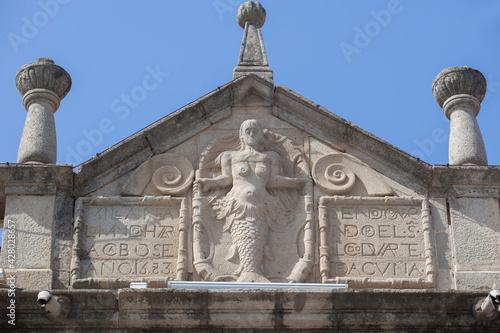 Coats of arms with mermaid relief at Villanueva de la Serena, Badajoz, Spain