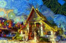Landscape Of Ancient Temples In Thai Villages Illustrations Creates An Impressionist Style Of Painting.