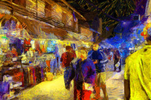 Landscape Of The Market At Night, Community Market Along The Mekong River Illustrations Creates An Impressionist Style Of Painting.