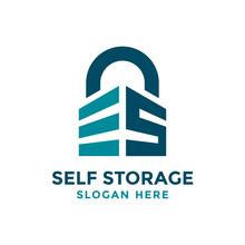 Letter S For Self Storage Logo Design Template. Safe Storage Garage Vector Illustration. With Concept Of Padlock And Garage Symbol Combination.