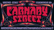 Carnaby Street Alphabet: A 1960s Or 1970s Style Alphabet With A Groovy Vibe. This Lettering Is In The Style Of Hippie Poster Lettering, With Hints Of Art Nouveau Influences.