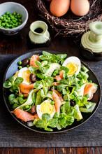 Smoked Salmon Avocado And Boiled Egg Salad
