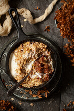 Pear And Chocolate Crumble With Cream