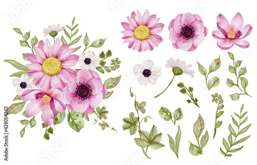 Cuadros en Lienzo Set of isolated pink flowers and greenery leaf watercolor
