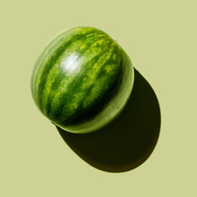 Fresh Watermelon On Green Background
