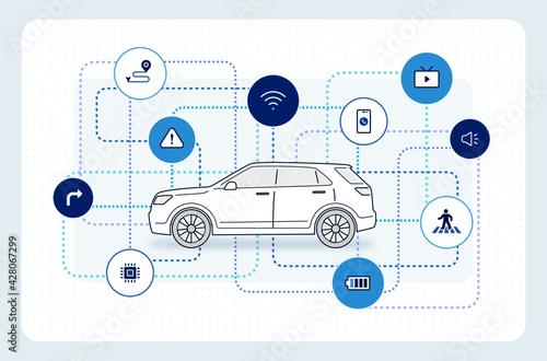 Obraz Self-driving car: autonomous driving icons, electric vehicle, SUV car side view. editable stroke illustration - fototapety do salonu