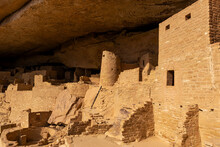 Close Up Of The Pueblo Architecture In The Cliff Palace, Mesa Verde National Park, Colorado, United States Of America (USA).