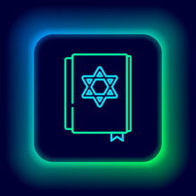 Glowing Neon Line Jewish Torah Book Icon Isolated On Black Background. Pentateuch Of Moses. On The Cover Of The Bible Is The Image Of The Star Of David. Colorful Outline Concept. Vector