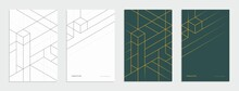 Abstract Geometric Technological Company Brochure. Corporate Identity Flyer. Vector Set Business Presentation.