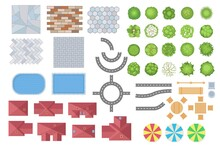 Top View Of City Or Park Elements Vector Illustrations Set. Collection Of Trees, Roads, Buildings, Fences, Tiles From Above For Map Or Plan Isolated On White Background. Landscape, Cityscape Concept