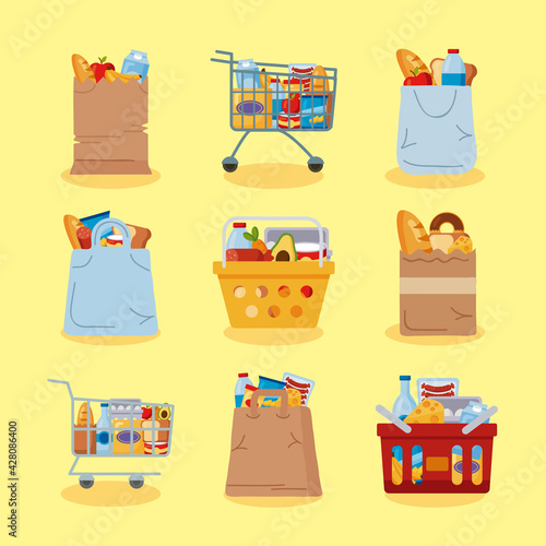 nine grocery shopping icons