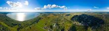 Pereslavl-Zalessky, Russian. Lake Pleshcheyevo. Panorama 360. Aerial View