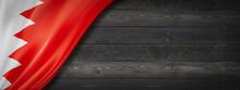 Bahrain Flag On Black Wood Wall Banner