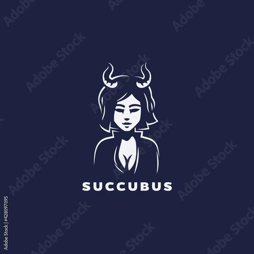 Stampa su Tela Succubus logo design, demon girl, enchantress with horns