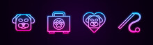 Set Line Dog, Pet First Aid Kit, Heart With Dog And Cat Toy. Glowing Neon Icon. Vector