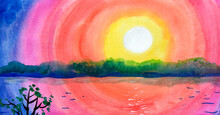 The Landscape With The Setting Sun And Trees On The River Bank Is Painted In Watercolor. Sunrise, Sky In Rainbow Colors.