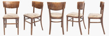 Set Of Wooden Chairs From Turn Of 70's And 80's From Previous Century With Soft Seat. Polish Design And Production. View From Each Side