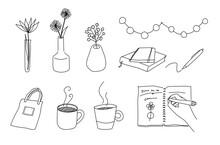 おしゃれな家のアイテムの手描きイラスト ライフスタイル コーヒー 花 花瓶 インテリア マグカップ
