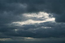 Background Of Dark Clouds Before A Thunder-storm. Cumulus Clouds Moving In The Sky. Evening Sky Cloudscape
