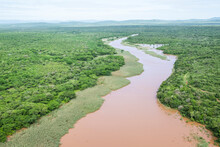 Aerial View Of The Flooded Nsimane River That Flows Into False Bay And The ISimangaliso Wetland Park
