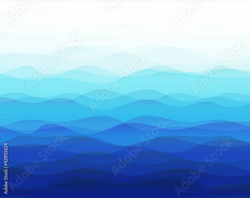 Blue Marine Background With Line With Gradient Mesh, Vector Illustration