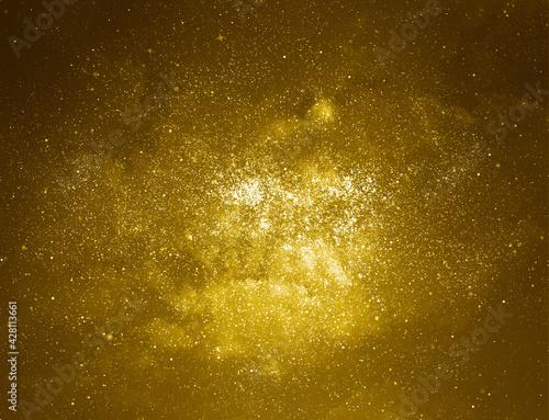 Fotografija Golden starry glitter background. Gold glitter lights