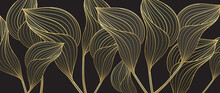 Tropical Leaves Background Vector With Golden Line Art Texture.  Luxury Wallpaper Design For Prints, Poster, Cover, Invitation, Packaging Design Background, Wall Art And Home Decoration.