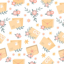 Vector Seamless Pattern With Romantic Letters. Postage Envelopes And Stamps