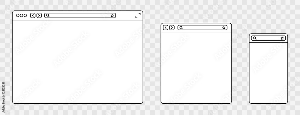 Obraz Line browser mockups different devices web window mobile, laptop and tablet screen in internet. Outline browser window. Web browser template. Vector illustration. fototapeta, plakat