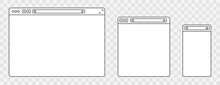 Line Browser Mockups Different Devices Web Window Mobile, Laptop And Tablet Screen In Internet. Outline Browser Window. Web Browser Template. Vector Illustration.