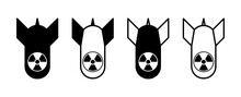 Atomic Bomb Or Nuclear Weapon Icon Set. Vector Image.