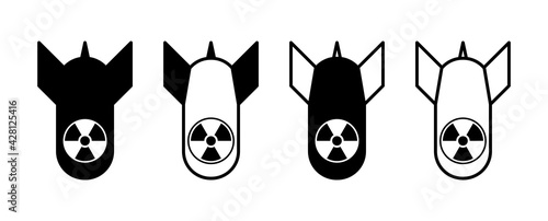 Fotografie, Obraz Atomic Bomb or Nuclear Weapon Icon Set. Vector Image.