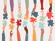 Agreement Or Affair Between A Group Of Colleagues Or Collaborators. Diversity People Co-workers Who Collaborate. Arms And Hands Holding A Jigsaw Puzzle Piece.Concept Of Sharing.Community