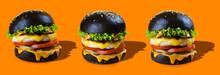 Chicken Burgers In A Black Bun On An Orange Background