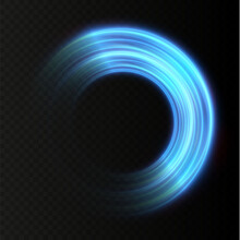 Abstract Vector Light Neon Lines Swirling In A Spiral. Light Simulation Of Line Movement. Light Trail From The Ring. Illuminated Podium For Promotional Products.