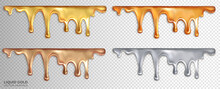 A Set Of Liquid Sticky Gold, Rose Gold, Silver And Bronze. Drops Of Precious Metals. Realistic 3d Vector Design