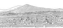 Martian Landscape Monochrome Line Drawing. Desert On Mars Sketch, Vector.