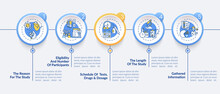 Clinical Trial Protocol Vector Infographic Template. Study Reason, Scheduling Presentation Design Elements. Data Visualization With 5 Steps. Process Timeline Chart. Workflow Layout With Linear Icons