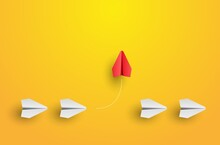 Individuality Concept. Individual And Unique Leader Red Paper Plane Flies To The Side. Think Different. Vector